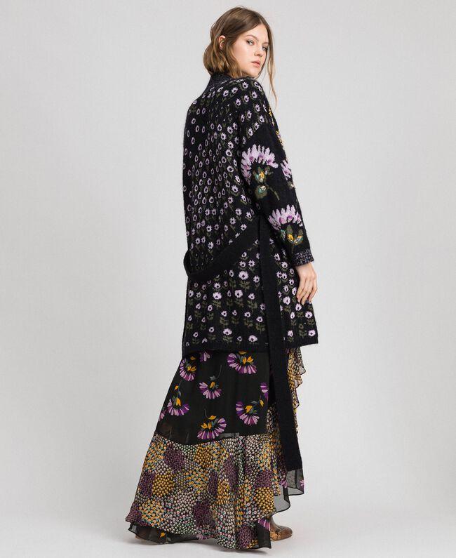 Cardigan jacquard floral avec broderies Jacquard Fleurs Multicolore Femme 192TT3241-03