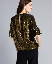 "Blusa in full paillettes Verde ""Military"" Gold Donna TA82DB-04"