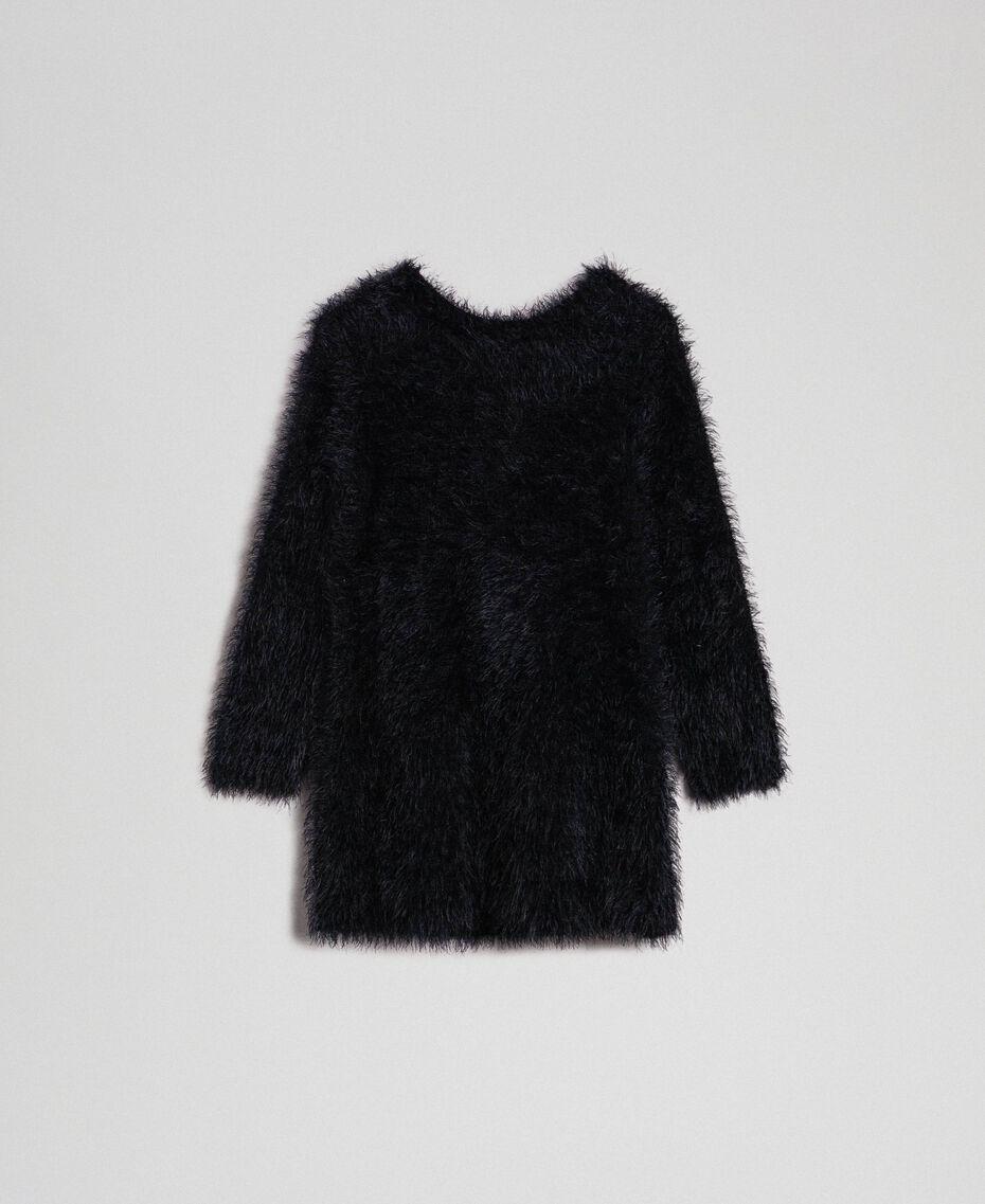 Платье из пряжи с эффектом искусственного меха Двухцветный Черный / Белый Pебенок 192GB3241-0S
