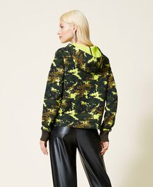 Felpa 'Silver' camouflage con rose Stampa Mimetic Green Donna 212AP2320-05
