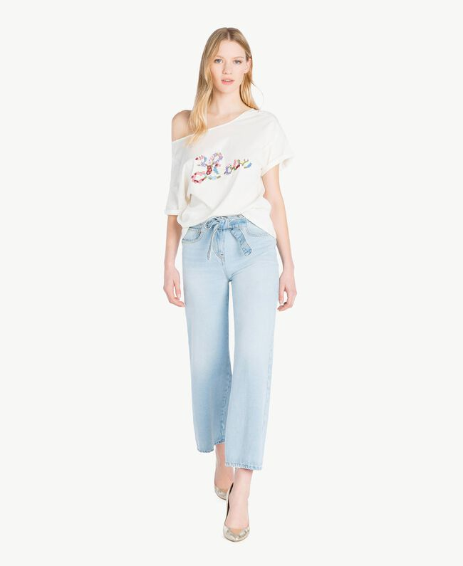 Embroidered T-shirt Light Ivory Woman PS82NR-05