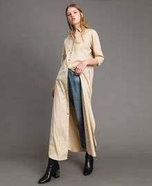 Poplin long shirt dress Beige Porcelain Woman 191MP2210-01