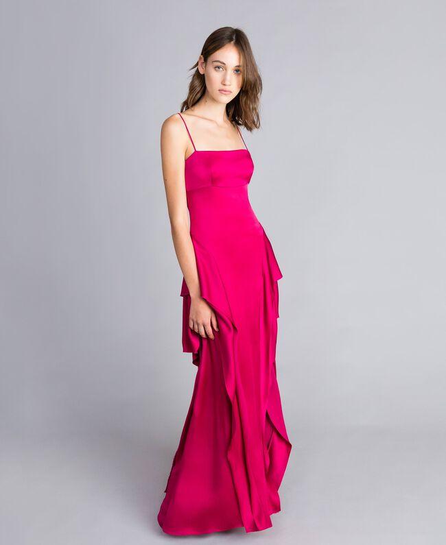 "Langes Kleid ""Anemonen""-Fuchsia Frau QS8TGF-01"