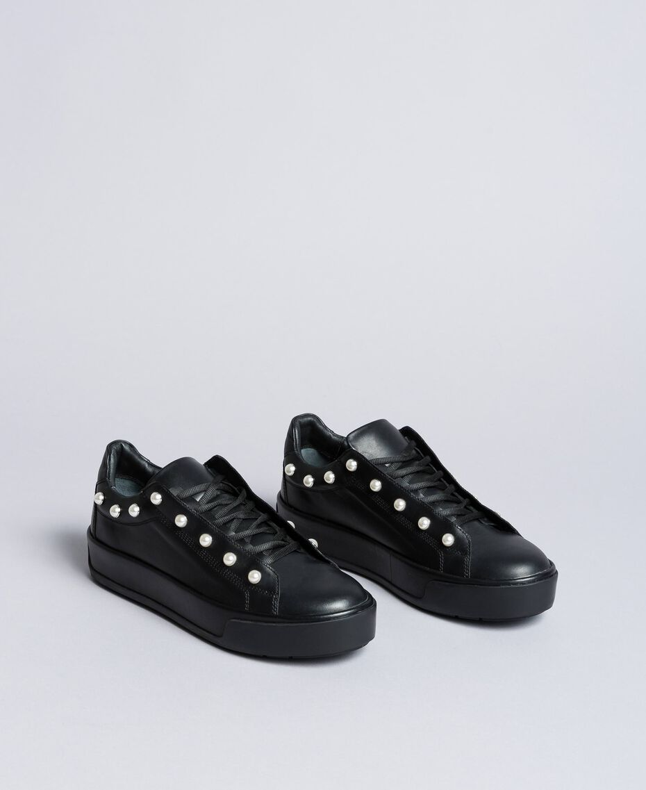 Leather sneakers with pearls Black Woman CA8PBU-02