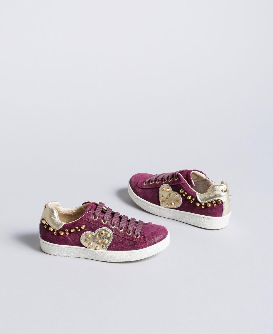"Sneakers aus Leder in Glanzoptik ""Sweet Grape""-Violett Kind HA88EN-02"