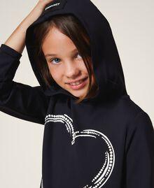 Scuba maxi sweatshirt with heart Black Child 202GJ2701-05