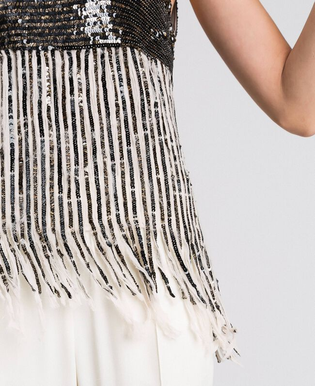 Georgette top with sequins and fringes Dark Gold Sequin Embroidery Woman 192TT2480-04