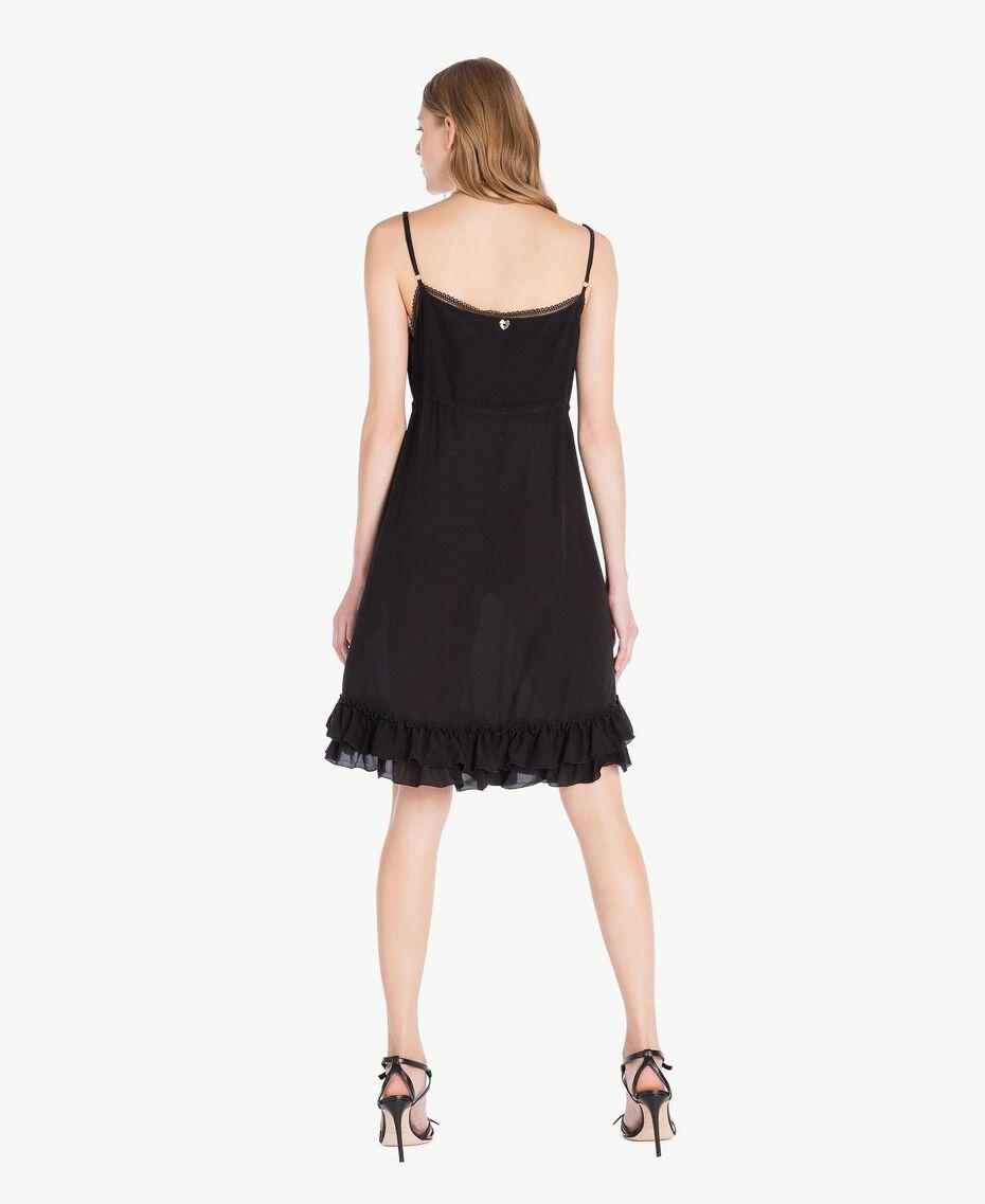 Kleid aus Seide Schwarz Frau TS82UA-03
