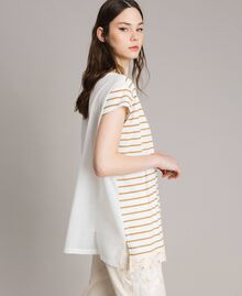 "Striped maxi t-shirt ""Savannah"" Beige / Off White Striped Print Woman 191ST2091-02"