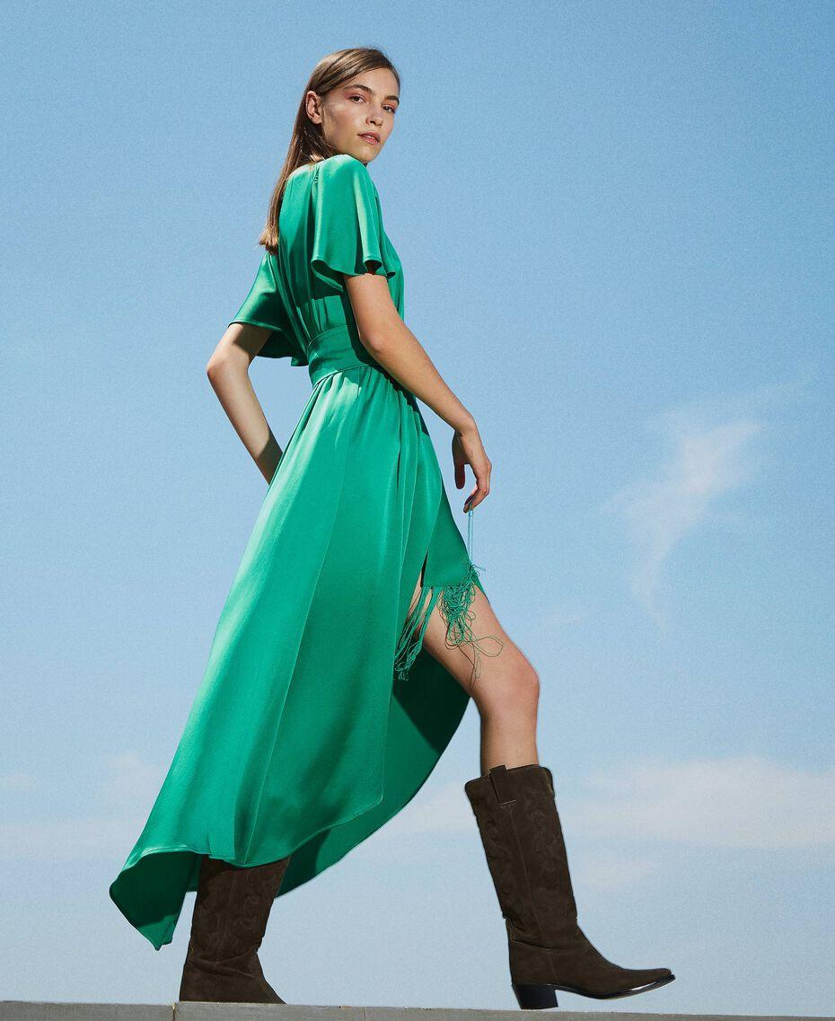 Long satin dress with draping Python Woman 202TP2620-01