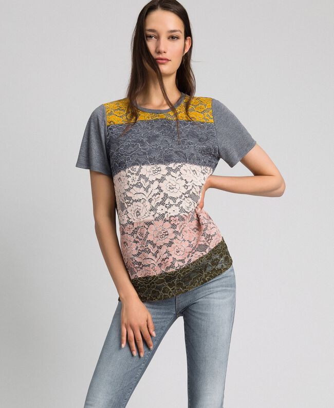 T-shirt with colour block lace Multi-colour Lace Woman 192MP2294-01