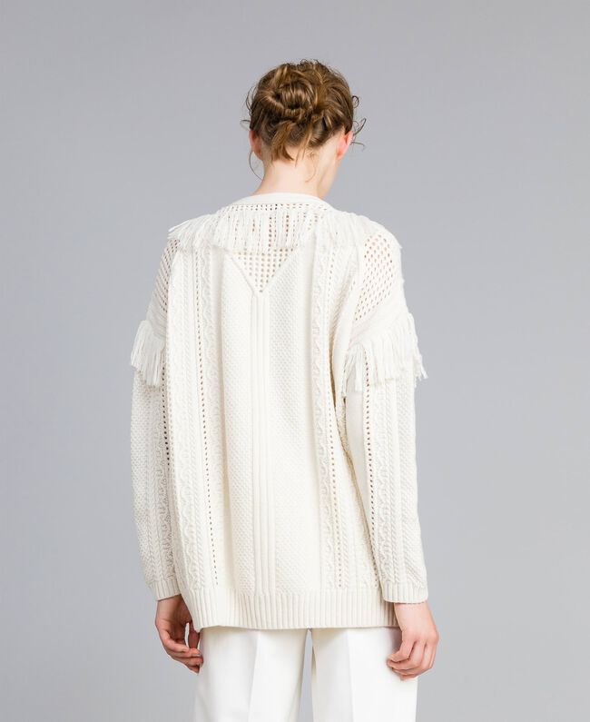 Knitted maxi cardigan with fringes White Snow Woman PA83BB-04