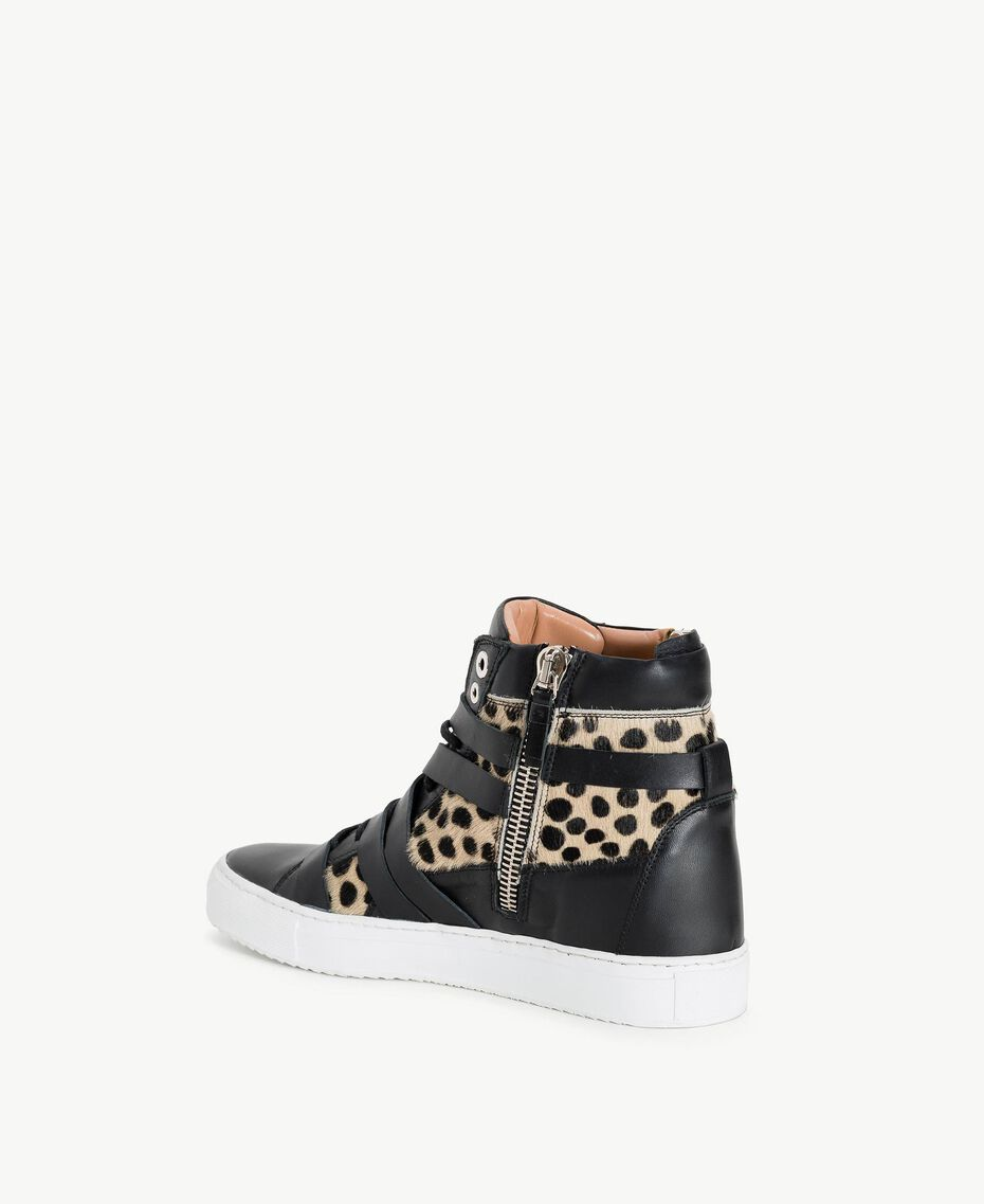 TWINSET Sneaker mit Animalier-Dessin Schwarz Frau CS8PNQ-03