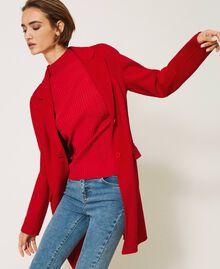 Mantel aus zweilagigem Tuch Kirsch Rot Frau 202TP2033-03