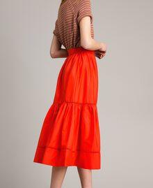 Poplin mid-length skirt Granadine Red Woman 191TT224B-02