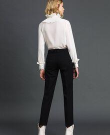 Hemd aus Crêpe de Chine aus Seidenmischung Weiß Schnee Frau 192TP2100-03