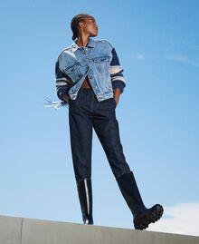 Blouson en jean avec franges Denim Clair Femme 202MP2463-04