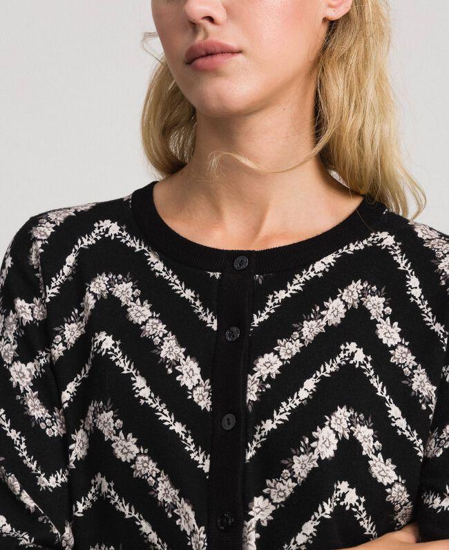 Gilet en maille imprimée Imprimé Chevrons Noir / Blanc Neige Femme 192TP3368-04