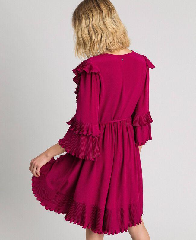 Kleid aus Crêpe de Chine aus Seidenmischung Rote-Bete-Rot Frau 192TP2102-04