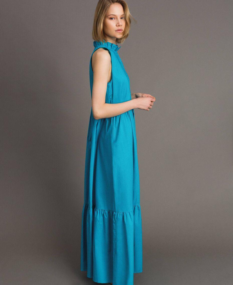 Robe longue en popeline Bleu Céramique Femme 191TT2233-02