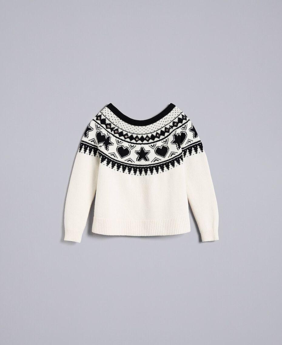 Pull jacquard avec clous Bicolore Blanc Nacre / Noir Femme JA83EA-0S