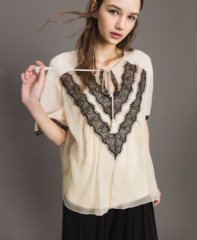 Crepon blouse with lace Ecrù Woman 191ST2201-01