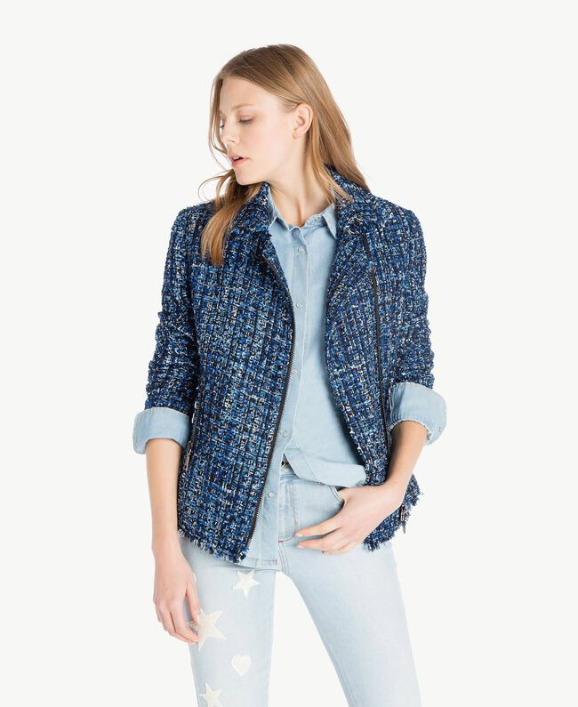 Bouclé biker jacket Multicolour Lapis Blue Woman JS82MC-01