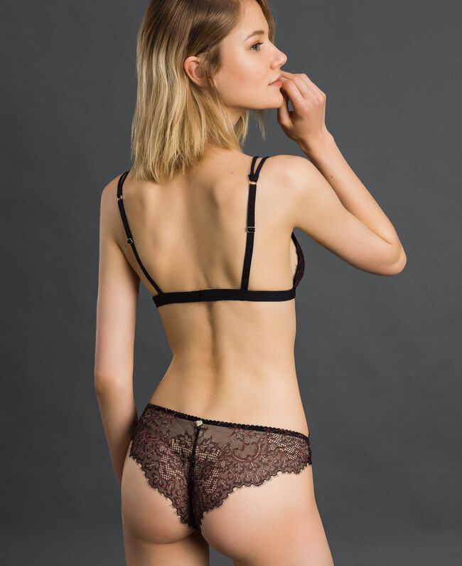 "Lace and tulle Brazilian briefs Black / ""Dolly"" Pink Woman 192LI6477-03"