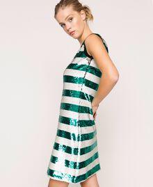 "Full sequin two-tone stripe dress Pale Emerald Sequin / ""Silk"" White Stripes Woman 201ST2222-01"