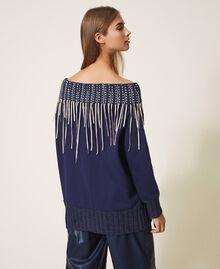 Sweatshirt mit Stickerei und Fransen Blackout Blau Frau 202LI2HAA-03