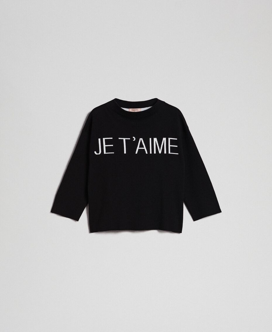 Pull boxy avec logo jacquard Jacquard Noir / Blanc Neige Femme 192TP332F-0S