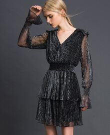 Metal creponne tulle dress Black / Silver Woman 192MT2140-02