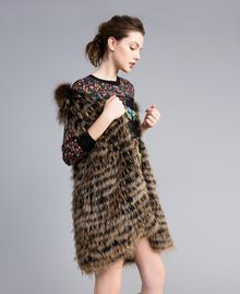 Gilet tricot in pelliccia Bicolor Nero / Camel Donna PA82LD-02