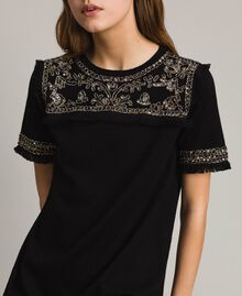 Embroidered linen blend dress with fringed trim Black Woman 191TT3050-04