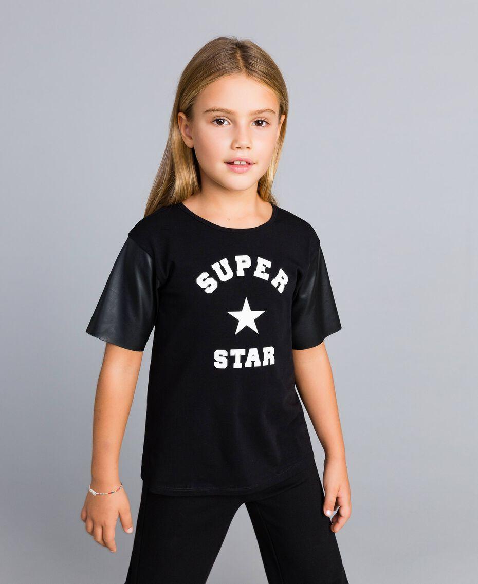 T-shirt en coton avec imprimé Noir Enfant GA82B3-0S