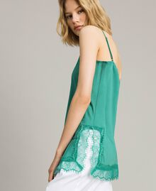 Crêpe de Chine top with lace Garden Green Woman 191ST2060-02