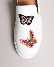 Leather mules with butterfly patches White Woman 191TCP10G-01