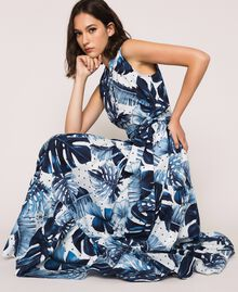 Длинное платье из набивного поплина Принт Тропический Горошек Синий / Виши женщина 201TP2552-05