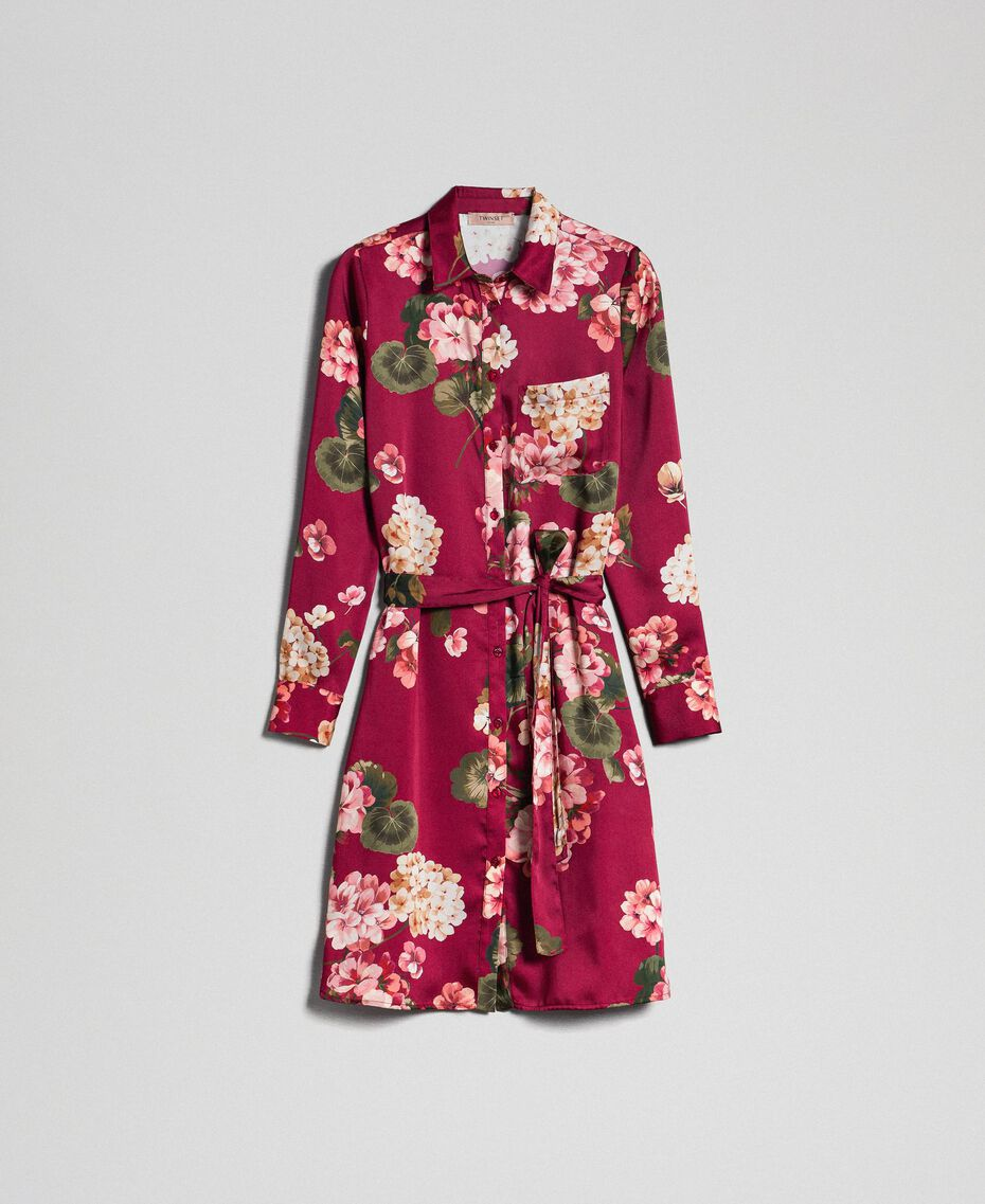 Long shirt with floral print Beet Red Geranium Print Woman 192TP2608-0S