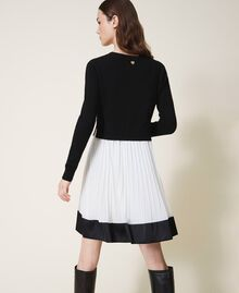 "Slip dress with wool blend jumper Bicolour Black / ""Snow"" White Woman 202TT3052-04"