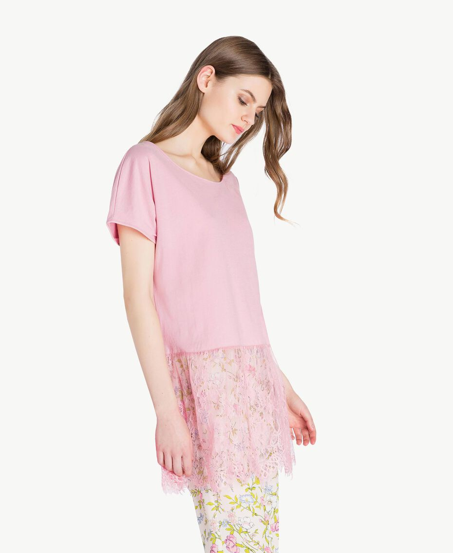Maxi T-shirt with lace Hydrangea Pink Woman PS82HD-02