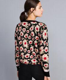 Printed viscose blend mandarin collar top Caramel / Black Windflower Print Woman YA83B1-04