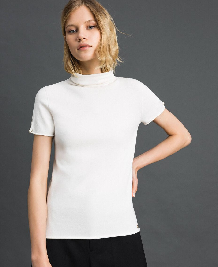Short sleeve turtleneck with pearl buttons Papyrus White Woman 192TP3242-02