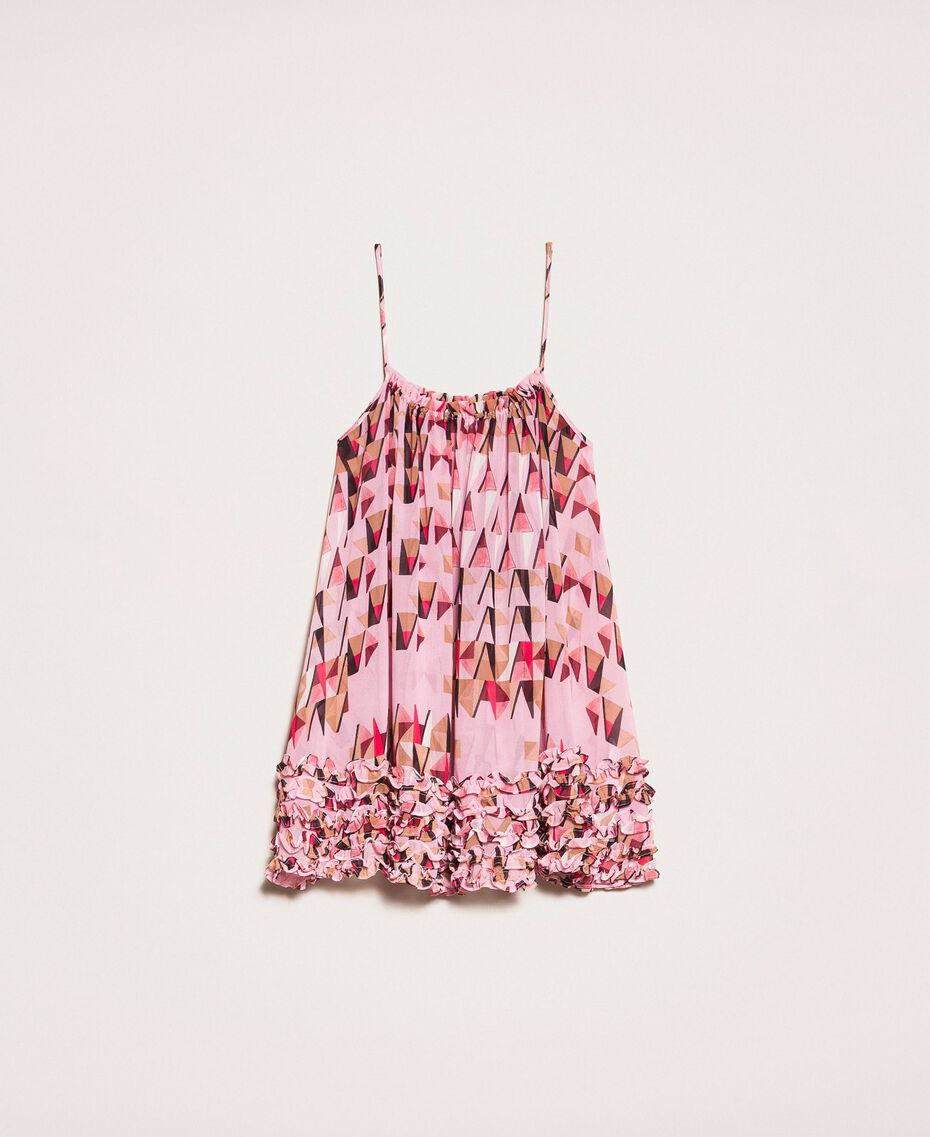 """Printed georgette top with micro frills """"Candy"""" Pink Geometric Print Woman 201ST2184-0S"""