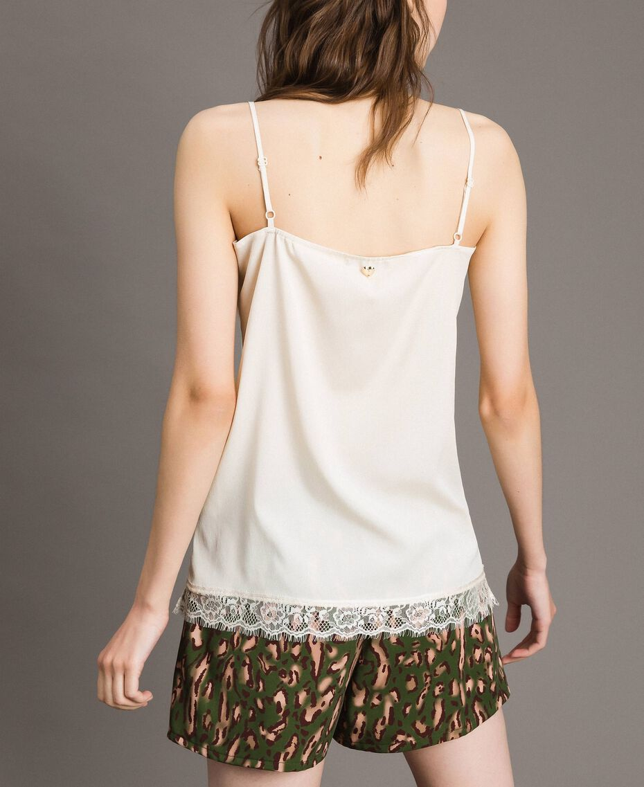 "Crêpe de Chine top with lace ""Shell"" Beige Woman 191MT2450-03"