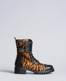 """Schnürstiefelette aus Leder mit Animaliereinsätzen Print """"Tiger"""" Frau CA8TEJ-03"""