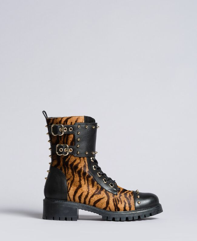 Leather combat boots with animal print inserts Tiger Print Woman CA8TEJ-03