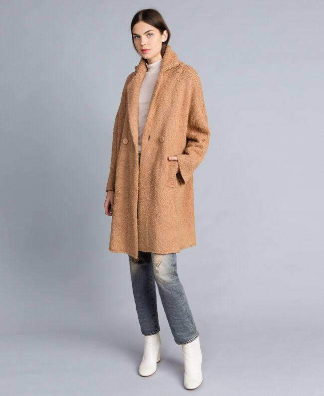 Manteau en fil bouclé Beurre Femme SA83CA-01