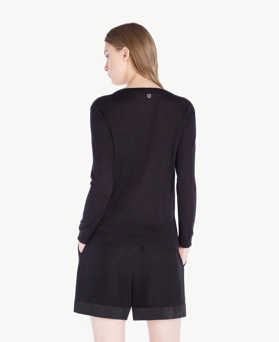 Mandarin collar top with bows Black Woman PS83XB-03
