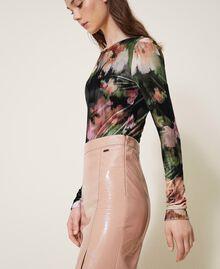 """Body in velluto stampato a fiori Stampa Fiori Nero / Rosa """"Peach Pearl"""" Donna 202TT2360-03"""